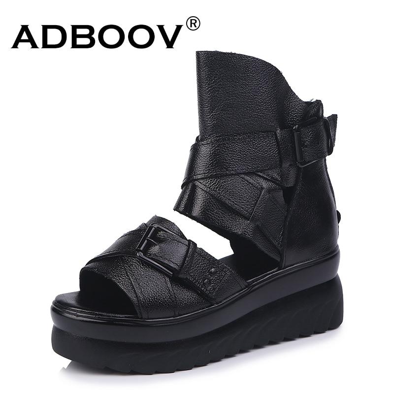 ADBOOV Genuine Leather Platform Sandals Women Summer Wedges Shoes For Women Sandalias De Verano Para Mujer ADBOOV Genuine Leather Platform Sandals Women Summer Wedges Shoes For Women Sandalias De Verano Para Mujer Size 35-43