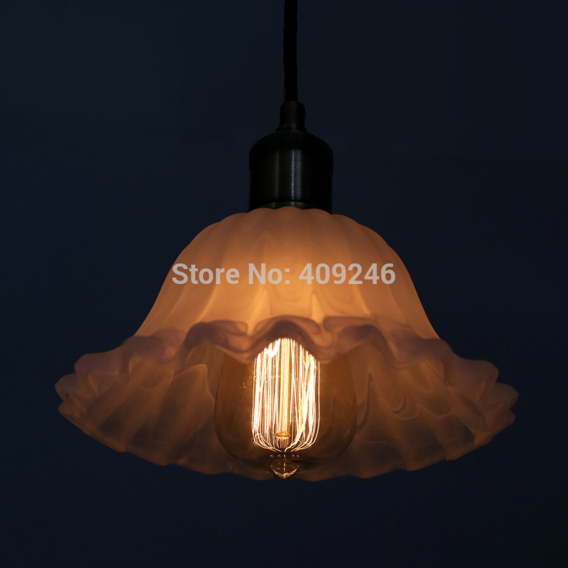 LOFT Edison Vintage Style Retro Industrial Flower Milk White Glass Chimney Pendant Ceiling Lamp With Thick Glass Cafe Bar Store loft vintage edison glass light ceiling lamp cafe dining bar club aisle t300