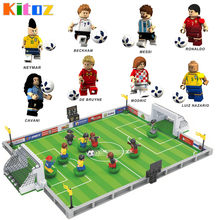 Russia Football Cup Figure Messi Ronaldo Beckham Neymar Cavani Team World Field Game Building Block Toy Compatible with Lego(China)