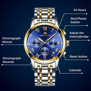 Image 4 - MEGALITH Luxury Luminous Watches Men Waterproof Stainless Steel Analogue Wrist Watch Chronograph Date Quartz Watch Montre Homme