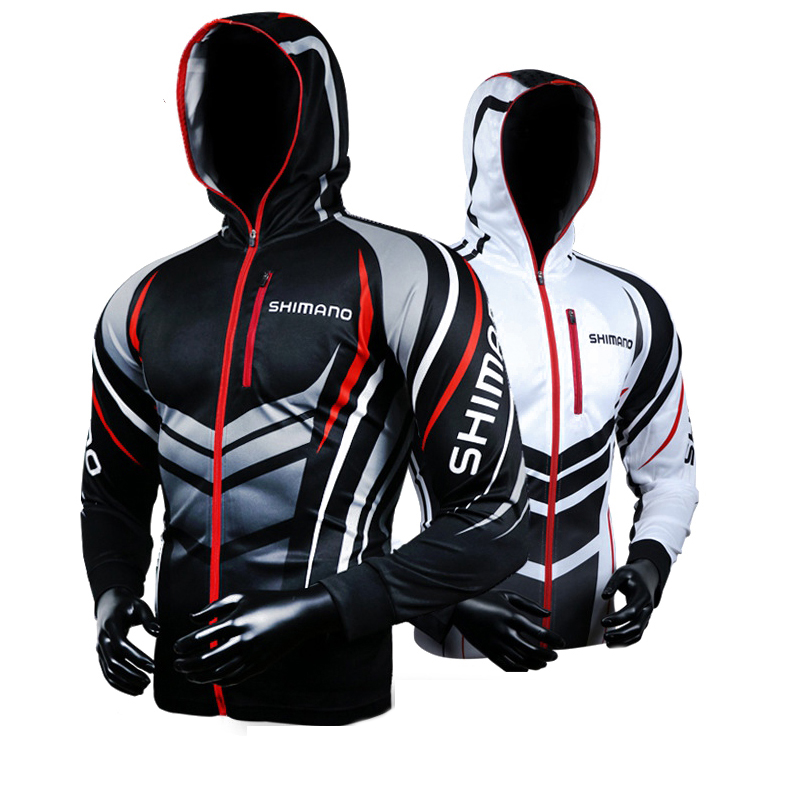 Shimano Men Zipper Hooded Fishing Clothing Breathable Sun UV Protection Fishing Clothes Outdoor Sportswear Clothes Fishing
