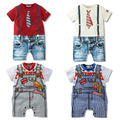 Summer Newborn Baby Romper Suit Kids Boys Girls Rompers Body Short-sleeve Tie Suit
