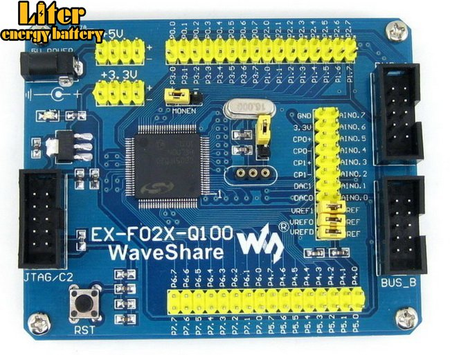 C8051F Series C8051F020 8051 Evaluation Development Board Kit Tools Full I/O Expander EX-F02x-Q100 Standard
