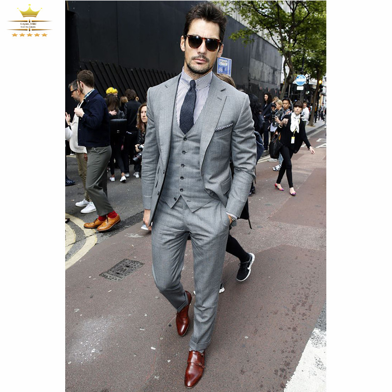 Mens Suits Slim Fit Tuxedos Custom Gray Business With Pants White ...