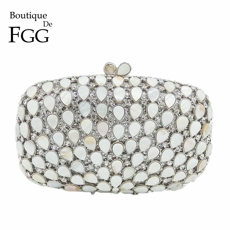 Boutique De FGG Natural Shell Crystal Women Silver Evening Bag Party Metal Minaudiere Handbag Bridal Purse