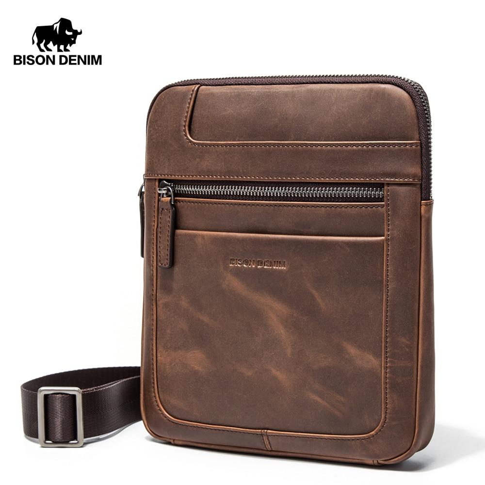 BISON DENIM Brand Genuine Leather Crossbody Bag Men Slim Male Shoulder Bag Business Travel iPad Bag