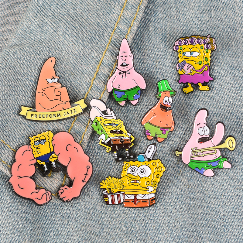 18style Funny Sponge-bob <font><b>Meme</b></font> Enamel Brooches Button Pins clothes bag Patrick Star Badge Cartoon Animal Jewelry Gift for friends image