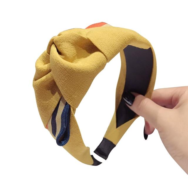 Twist Knotted Women Fabric Hairband Wide Band Headband Bow Knot Cross Headwrap  Cute Girl Hair Band Hoop 2018 Brand New aca2419c86d1