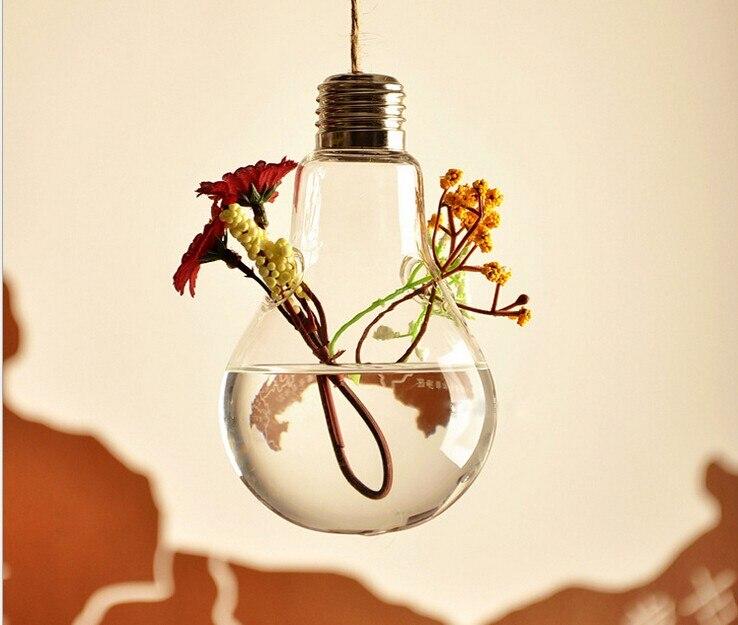 10 pcs Fashion Hot Light bulb shape glass hanging terrarium vases air plant succulent terrarium for home decoration
