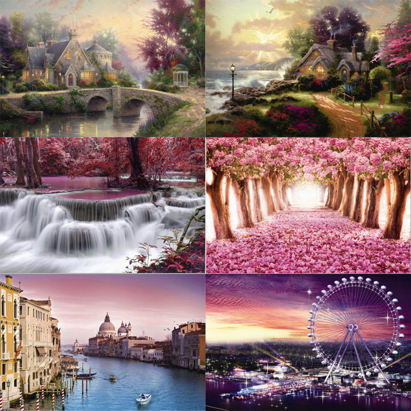 Autumn scenery puzzle 1000 pieces ersion wood puzzle jigsaw puzzle white card adult children's educational toys puzzle game 1000 pieces the wooden puzzles adventure together jigsaw puzzle white card adult children s educational toys