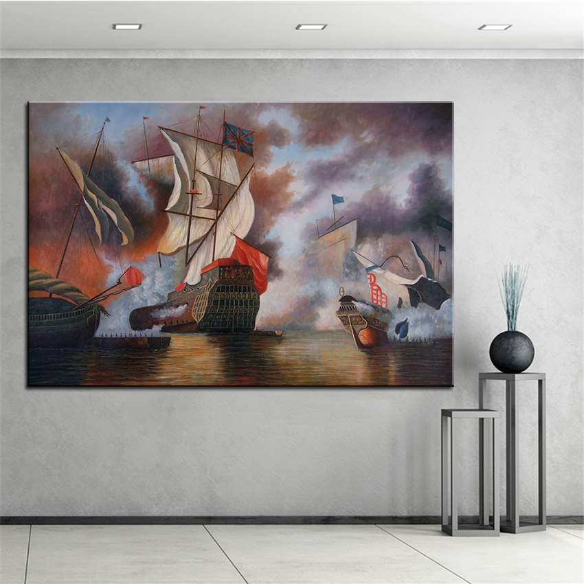 ᗛExtra Large Wall pintura de vela en el mar Inicio Oficina ...