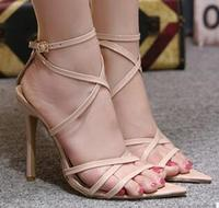 2018 summer new European and American wild thin belt combination sexy high heel sandals women's shoe s