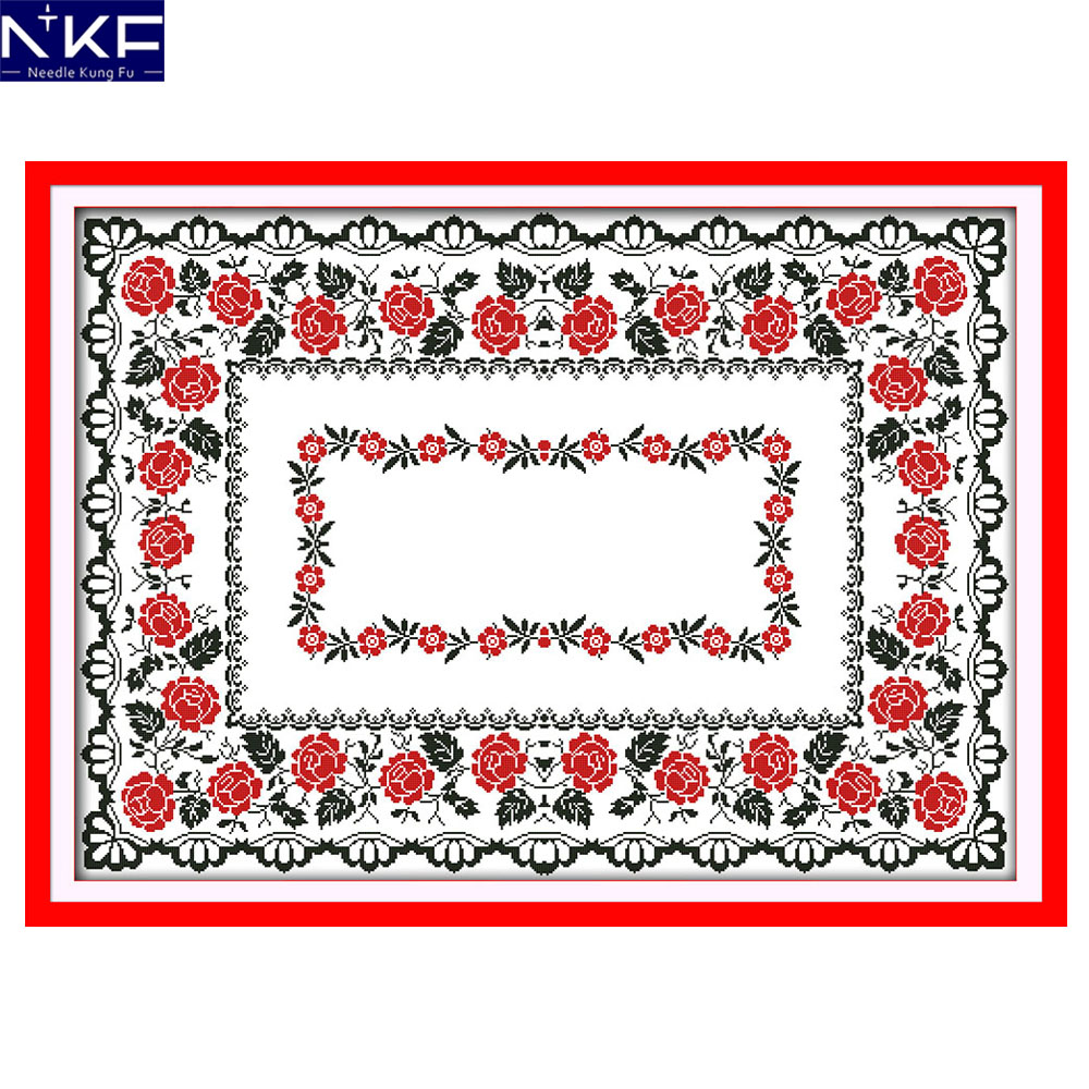 NKF Rose Tablecloth Counted Cross Stitch Print Cross Stitch DIY Cross Stitch Kit Embroidery Needlework for Christmas DecorationNKF Rose Tablecloth Counted Cross Stitch Print Cross Stitch DIY Cross Stitch Kit Embroidery Needlework for Christmas Decoration