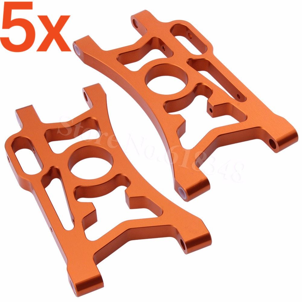 5x Aluminum Rear Lower Suspension Arms For 1/5 HPI Baja 5B 5SC 5T 5R SS T1000 KM ROVAN 85402 carbon fiber baja rear chassis plate for hpi baja 5b ss 5t 5sc rovan king motor
