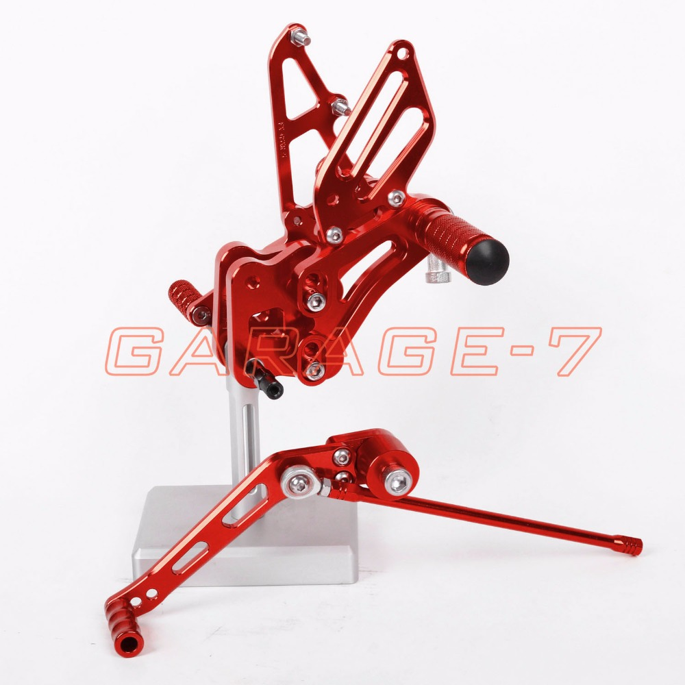 Rearsets Adjustable  Foot Pegs Rear For Suzuki GSXR 600 GSXR 750 2006-2010 Red Motorcycle Foot Pegs Hot Sale Motorcycle CNC