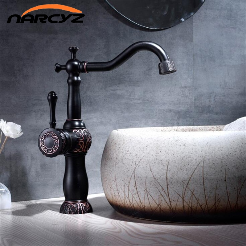 New Basin Faucets Antique Color Brass Crane Bathroom Faucets Hot and Cold Water Mixer Tap Contemporary