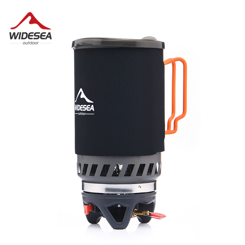 Widesea Gas Burner Camping Stove Outdoor Cookware 1400ML Heat Exchanger Pot Cooking Systerm Tourist Kitchen Cooker Equipment gas six burner noodle boiling stove for hotel kitchen equipment