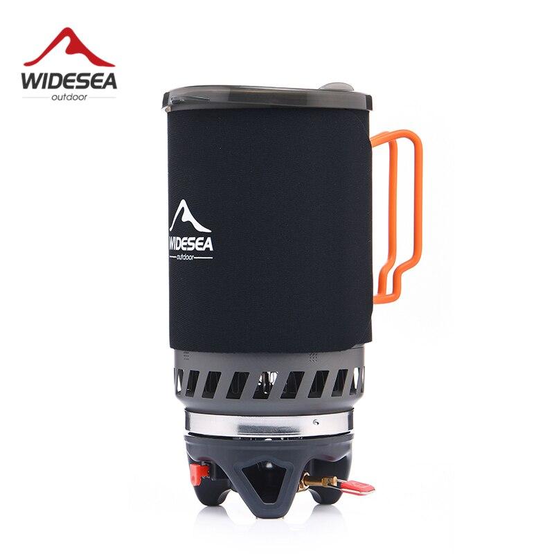 Widesea Queimador De Gás Fogão de Acampamento Ao Ar Livre Panelas 1400 ml Trocador de Calor Pot Cozinhar Systerm Turístico Equipamentos de Fogão De Cozinha