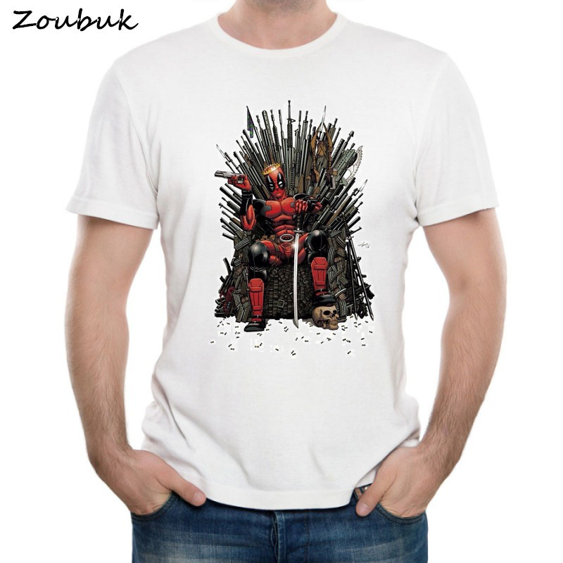 Cool Deadpool on the Iron Throne   T  -  Shirt   Design Fashion Game of thrones Deadpool   T     shirt   Men's Short Sleeve Tops Tee