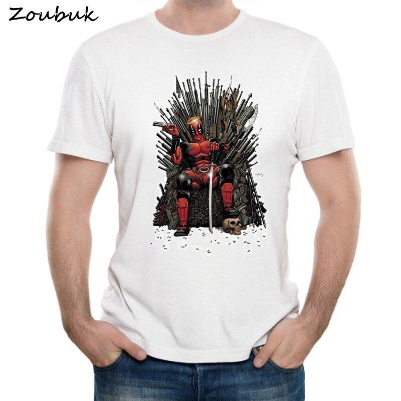 100% QualitäT Kühlen Deadpool Auf Die Eisen Thron T-shirt Design Mode Spiel Der Thrones Deadpool T Shirt Herren Kurzarm Tops T Gut FüR Antipyretika Und Hals-Schnuller