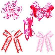 Breast Cancer Cheer Bow With Elastic Hair Band For Girls Print Ribbon Hair Bow Pinwheel Hair Clips Handmade Hair Accessories