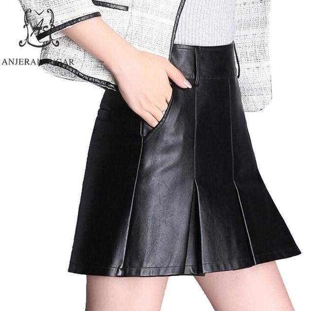 57e3cf46e Outono inverno mulheres saia de couro Falso preto vermelho de couro PU sexy  Plus Size fino