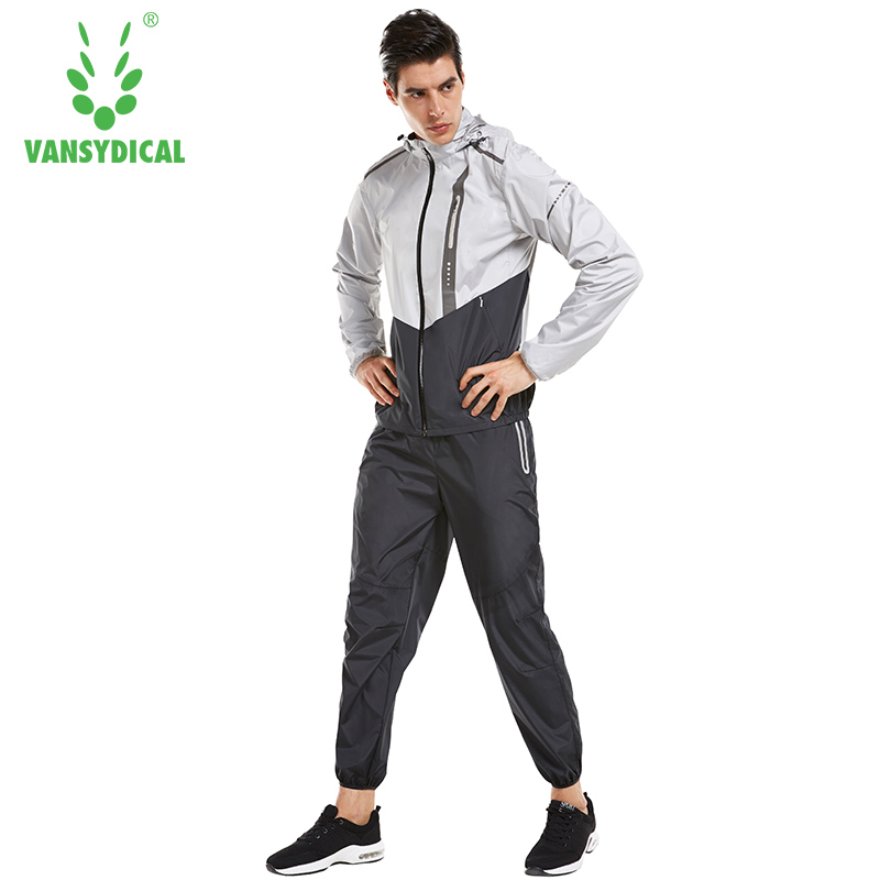 Vansydical 2018 Hot Sweat Sports Suits Mens Gym Clothes Running Jacket Pants Set Lose Weight Jogging Fitness Sportswear 2pcs ...