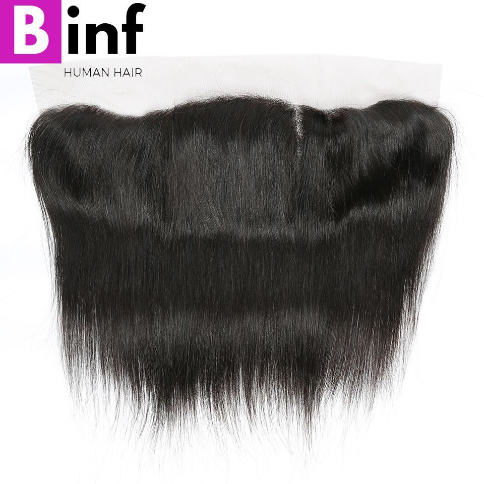 BINF Hair Peruvian 13x4 Ear To Ear Pre Plucked Swiss Lace Frontal Closure Straight With Baby Hair Remy Human Hair Free Part