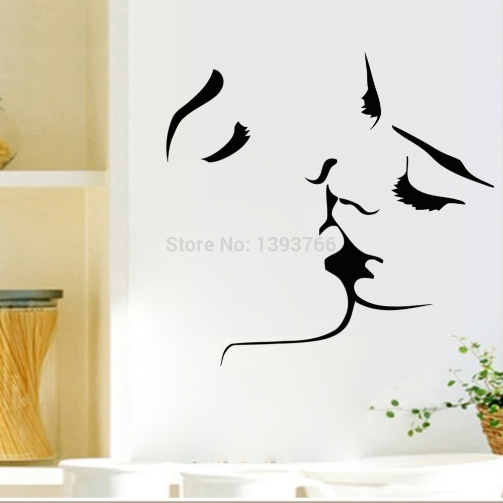Best Selling Kiss wall stickers home decor 8468 wedding decoration wall art for Bedroom decals Mural
