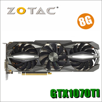 Оригинал ZOTAC видеокарта GPU GTX 1070ti 8 ГБ 256Bit GDDR5 Графика карты карта nVIDIA GeForce GTX1070ti 8GD5 8 г 8pin 750ti 750