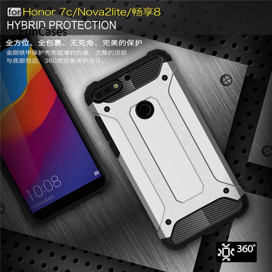 Custodie del telefono Per Huawei Honor 7C 5.99 Della Copertura del cuoio Antiurto Armatura Tpu caso Ibrido di Plastica Dura del PC Caso Della Copertura Posteriore In honor 7C 5.7 Capa