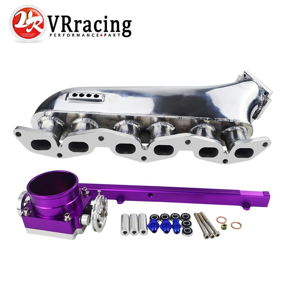 VR RACING intake manifold for Toyota supra 1jzgte 1jz jzz30 turbo intake manifold + 90MM Throttle Body + Fuel Rail VR IM39PH