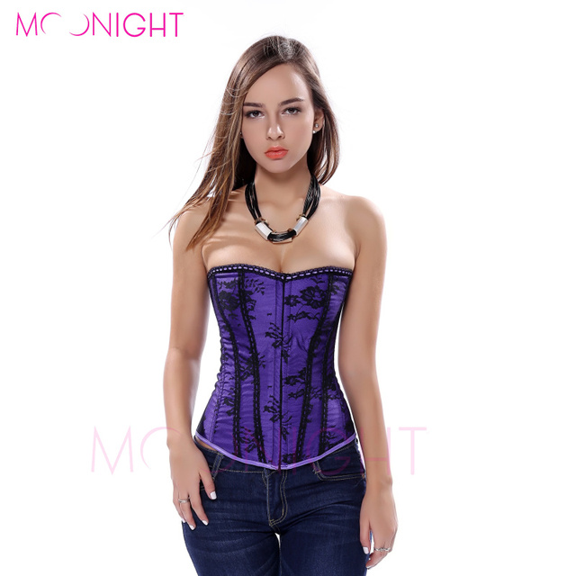 MOONIGHT Hot Sexy Corset Top Sexy Lingerie Elegant Purple Corset Size Waist Corset Overbust S M L XL 2XL