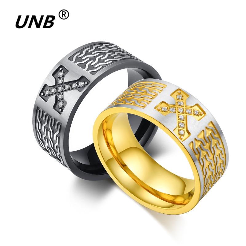 5285554326f0 El nuevo oro un dragón 316l Acero inoxidable cruz Jesús joyería del mens  del anillo para los hombres banda masculina Anillos regalos DORP envío