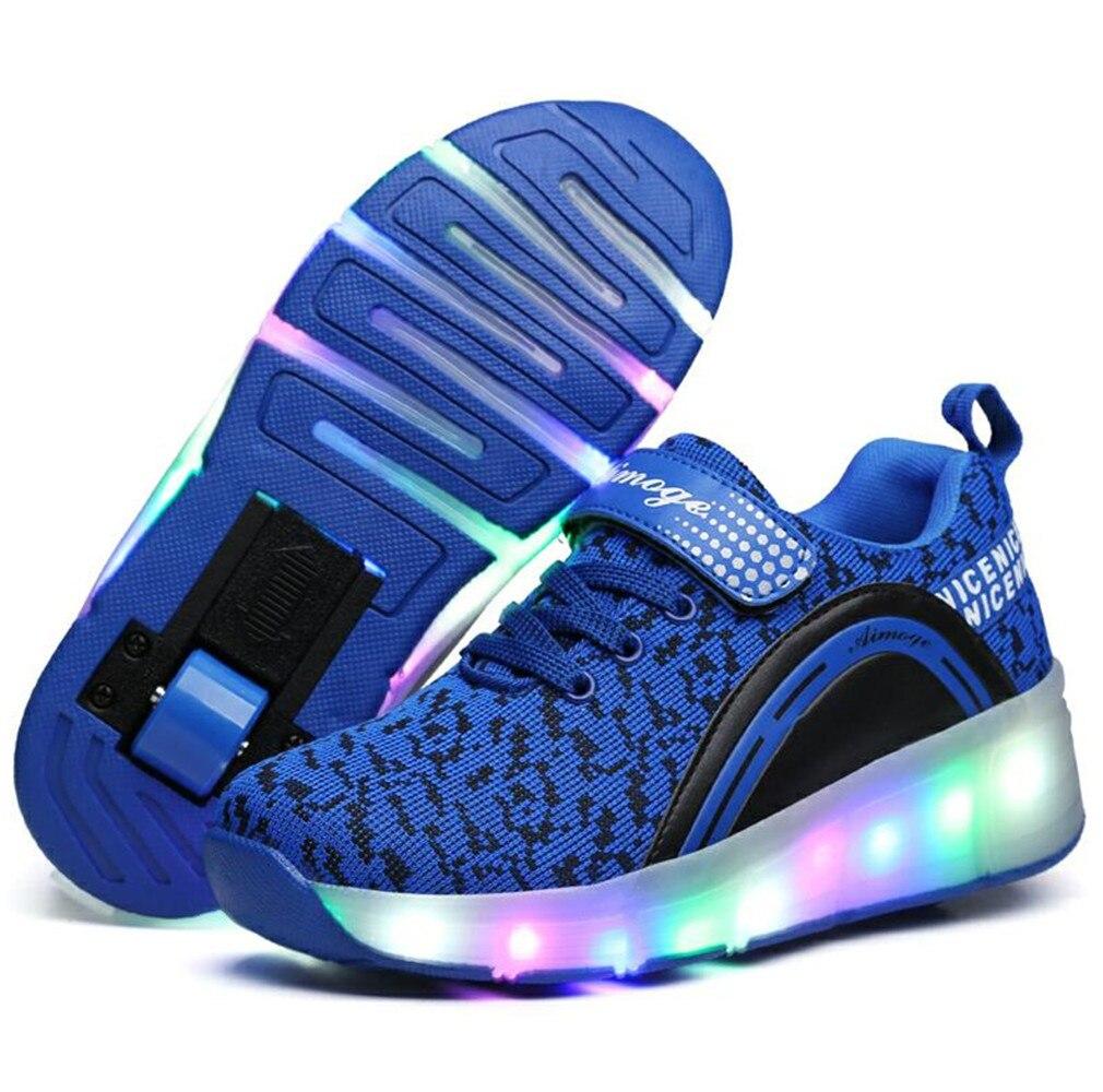 Chrismas Gift 2017 LED Light Sneakers with Wheel Boy Girl Roller Skate Casual Shoe with Roller Girl Zapatillas Zapatos Con Rueda dc men s council mid tx skate shoe