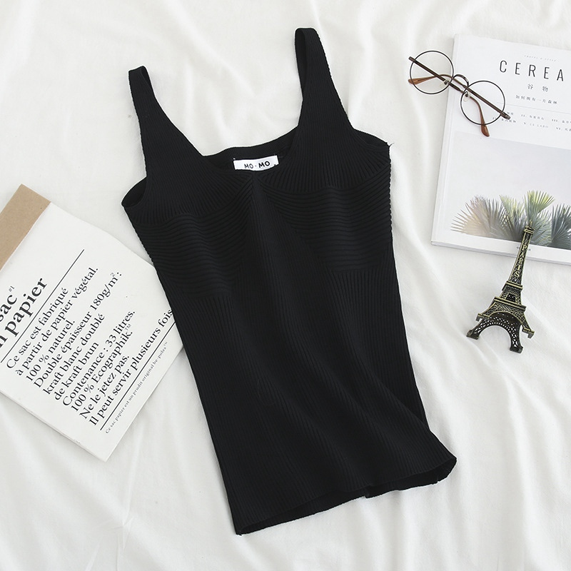 3 Colors Knitted Tops Women Sleeveless Tops Summer Camis Solid Casual Plus Size Tank Tops KKFY3780 in Camis from Women 39 s Clothing