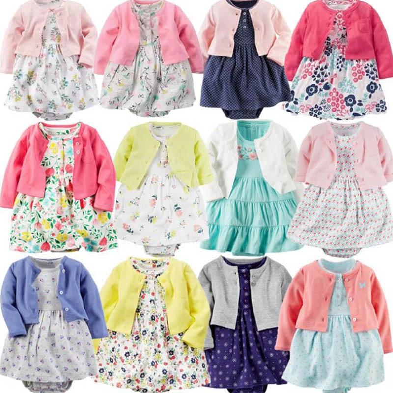 Боди-платье для маленьких девочек Хлопковое пальто с длинными рукавами и цветочным рисунком для маленьких девочек + платье с короткими рука...