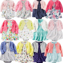 Infant Baby Girls Bodysuit Dress Cotton Floral Baby Girls Long-Sleeved Coat+Short SLeeve Dress 2Pieces Baby Girls Clothes sets