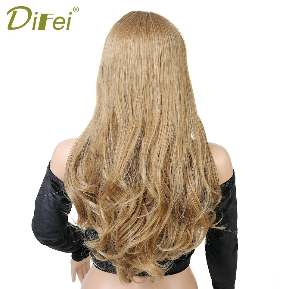 DIFEI Womens Wig Long Curly Wavy Blond Wig Synthetic Heat Resistant Costume Hair extension