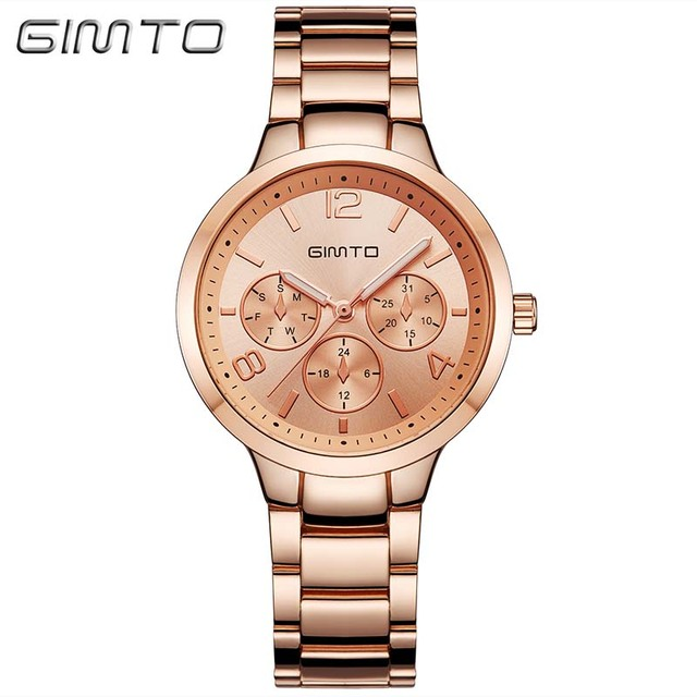 GIMTO Brand Rose Gold Women Watches Business Quartz Ladies Watch Steel Luxury Lovers Bracelet Wristwatch Clock Relogio Feminino