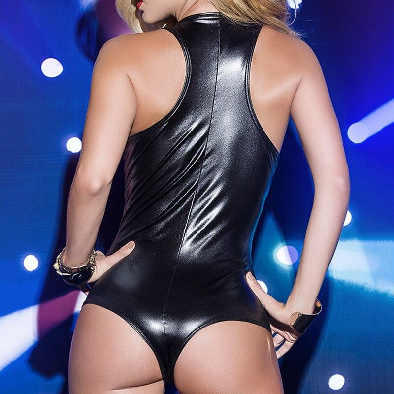 Womens Ladies Clubwear PU Leather Slim Fit   Romper   Fashion Jumpsuit Nightclub Bodysuit Shiny Sexy Stylish Party