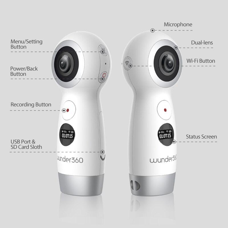 Wunder 360 Dual-lens 4 k 360 Fotocamera con Wifi Panorama Videocamera IP 360 Action Camera per iPhone X Supporto In Tempo Reale In Diretta