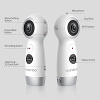 Wunder 360 Dual lens 4k 360 Camera with Wifi Panorama Video Camera IP 360 Action Camera for iPhone X Support Real Time Live