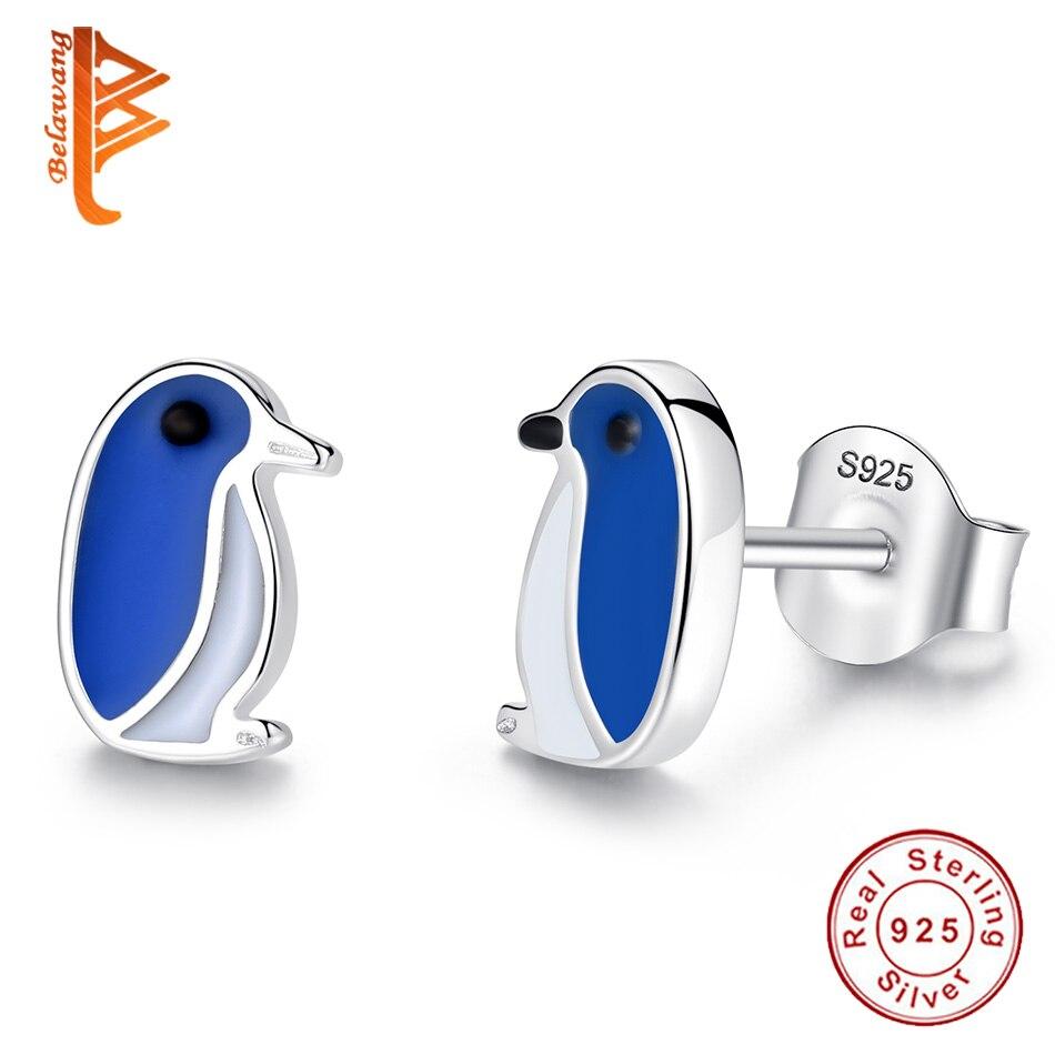 BELAWANG Lovely 925 Sterling Silver Enamel Penguin Animal Stud Earrings for Women Girls Fashion Silver Earrings Jewelry