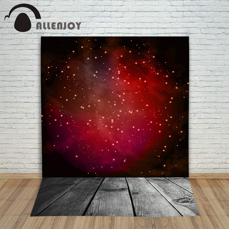 Allenjoy Christmas background Red Star Universe Wood Floor for photo studio vinyl fabric