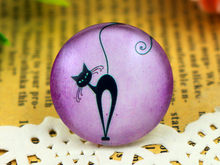 Fashion Baru 5 Pcs/lot 25 Mm Buatan Tangan Kaca Foto Cabochons Cat Ungu (F3-57)(China)