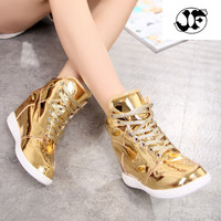 Korean Style Female Student S Leisure Shoes Gold And Silver Color Platform Shoes Casual Shoes Women