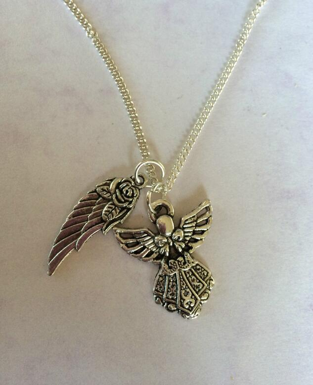 Fashion Vintage Silver Fairy Magic Guardian Angel & Wings Pendants Necklace Collars Charms Jewelry For Women Girl Gift 10pcs/lot
