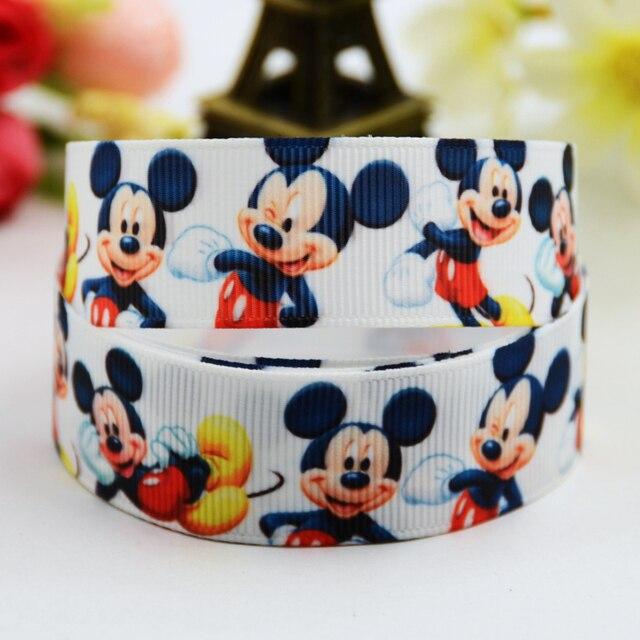 7/8 ''(22mm) Mickey Minnie personaje dibujo estampado grogrén cinta fiesta decoración de satén cintas OEM 10 yardas