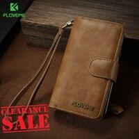 FLOVEME Universal Retro PU Leather Cases For IPhone 6 6s Plus 7 8 Plus Kickstand Detachable